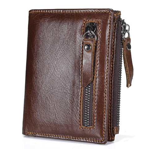 PINkart-USA Online Shopping Promotion Genuine Leather Men'S Wallet Vintage Style Wallets For Men Oil Wax Leather Cash
