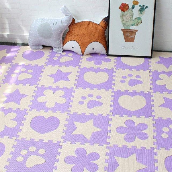 PINkart-USA Online Shopping Purple 10Pcs Baby Play Mat In Nursery Eva Foam Childrens Carpet With Border Puzzle Mat For Borns