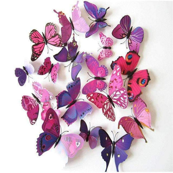 PinKart-USA Online Shopping Purple 12 Pcs/Lot Pvc Butterfly Decals 3D Wall Stickers Home Decor Poster For Kids Rooms Adhesive To Wall