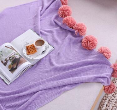 PinKart-USA Online Shopping Purple / 130x160cm 100% Cotton Soft Thick Knitted Solid 3D Blanket Balls Tassel Blanket Sofa Bedding Set On The Bed
