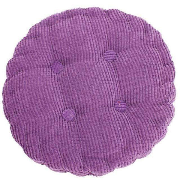 PinKart-USA Online Shopping Purple 1Pc 36*38Cm Round Shape Plaid Chair Pad Cushion Thicker Soft Washable Cotton Colorful Home Decor