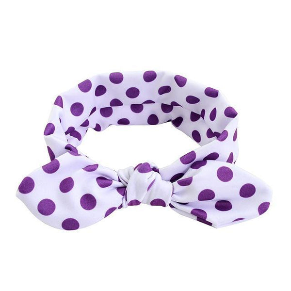 PINkart-USA Online Shopping purple dot Cute Dot Print Baby Headband Turban Rabbit Ears Girl Hairband Bow Knot Hair Bands For Baby Girl