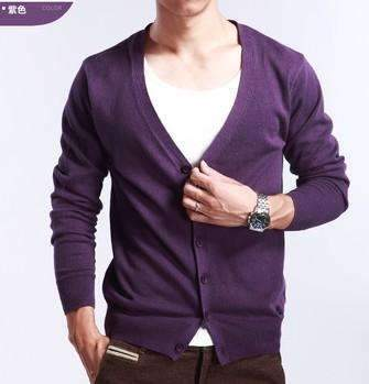 PinKart-USA Online Shopping purple / M Spring And Autumn Multi-Colored V-Neck Solid Color Sweater Outerwear Male Cashmere Cardigan