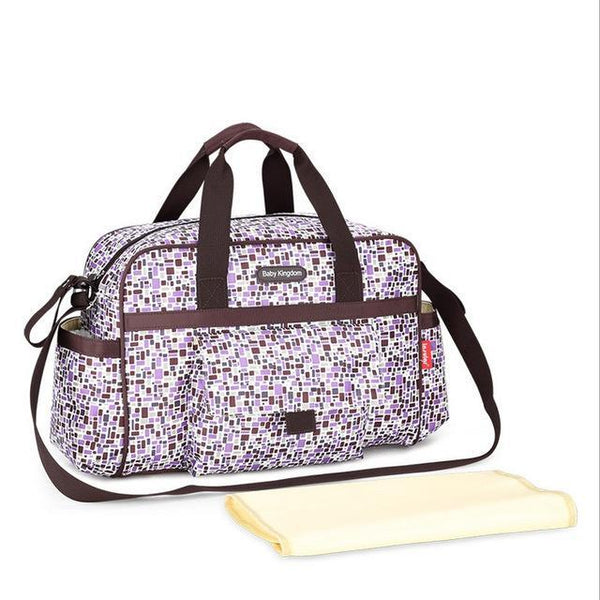 PINkart-USA Online Shopping Purple New Colorful Plaid Baby Diaper Bag Large Capacity Changing Mat Mummy Handbag Maternity Shoulder