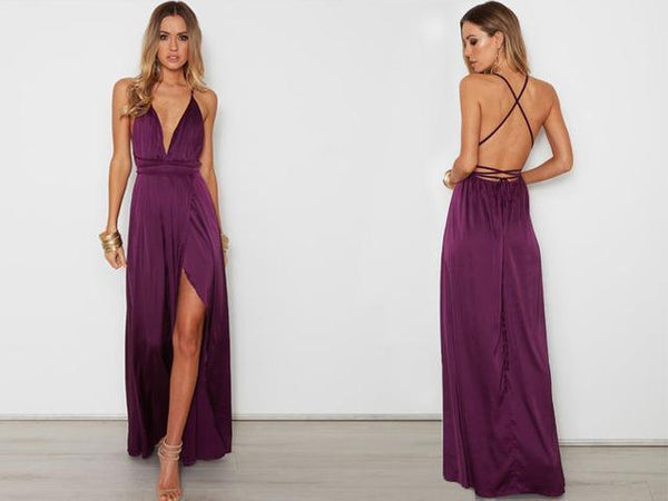 PINkart-USA Online Shopping Purple / S Elegant Backless Satin Long Dress Women Evening Summer Dress Party Best Quality Black Red Maxi