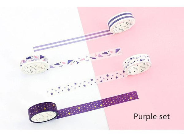 PINkart-USA Online Shopping Purple set 4 Pcs Basic Rainbow Paper Washi Tape Set 15Mm*7M Color Decoration Tape Masking Stickers
