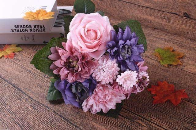 PinKart-USA Online Shopping purple Silk Flower Wedding Bouquet Roses Dahlias Artificial Flowers Fall Vivid Fake Leaf Wedding Flower