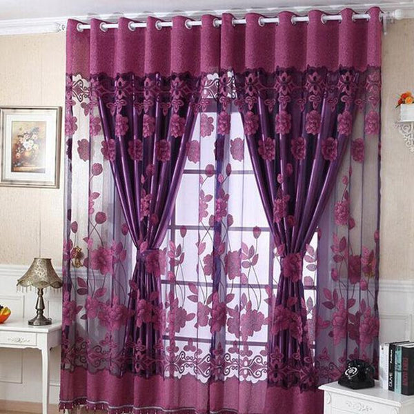 PINkart-USA Online Shopping Purple / W100cm L250cm 1 Piece Fashion Roman Embroidered Tulle Curtains Printed Burnout Polyester For Living Room Bedroom