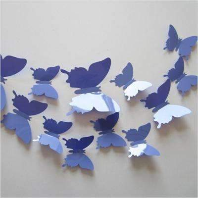 PinKart-USA Online Shopping PurpleBlue 12 Pcs/Lot Pvc Butterfly Decals 3D Wall Stickers Home Decor Poster For Kids Rooms Adhesive To Wall
