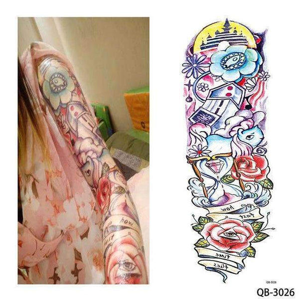 PinKart-USA Online Shopping QB 3026 1 Piece Temporary Tattoo Sticker Nun Girl Pray Design Full Flower Arm Body Art Beckham Big Large