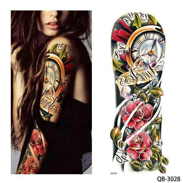 PinKart-USA Online Shopping QB 3028 1 Piece Temporary Tattoo Sticker Nun Girl Pray Design Full Flower Arm Body Art Beckham Big Large