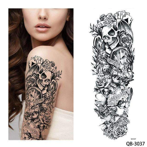 PinKart-USA Online Shopping QB 3037 1 Piece Temporary Tattoo Sticker Nun Girl Pray Design Full Flower Arm Body Art Beckham Big Large