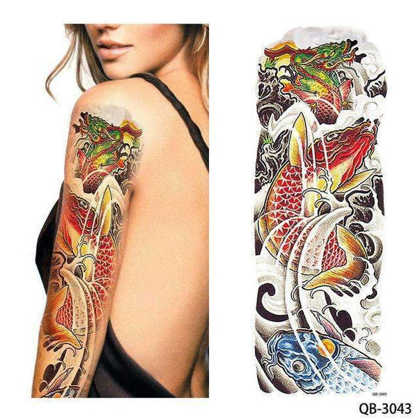 PinKart-USA Online Shopping QB 3043 1 Piece Temporary Tattoo Sticker Nun Girl Pray Design Full Flower Arm Body Art Beckham Big Large