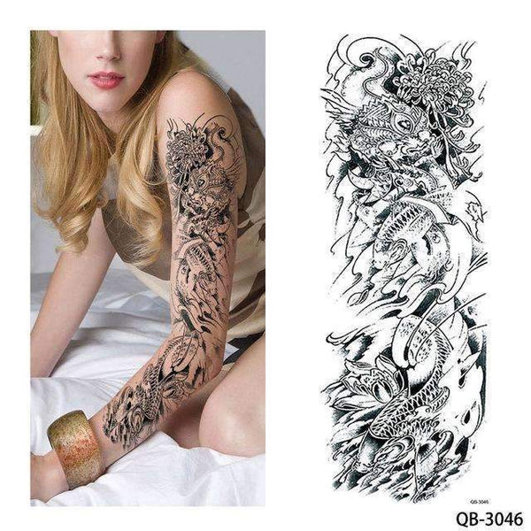 PinKart-USA Online Shopping QB 3046 1 Piece Temporary Tattoo Sticker Nun Girl Pray Design Full Flower Arm Body Art Beckham Big Large