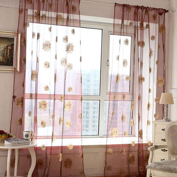 PINkart-USA Online Shopping R / W100cm L200cm 5 Colors Green Polyester Curtains Tulle For Living Room Kitchen Sunflowers Printed Translucidus