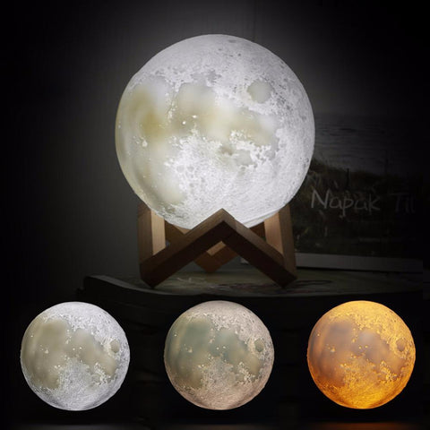 PINkart-USA Online Shopping Rechargeable 3D Print Moon Lamp 3 Color Change Touch Switch Bedroom Bookcase Night Light Home Decor