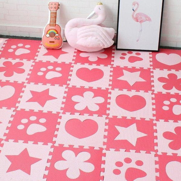 PINkart-USA Online Shopping Red 10Pcs Baby Play Mat In Nursery Eva Foam Childrens Carpet With Border Puzzle Mat For Borns