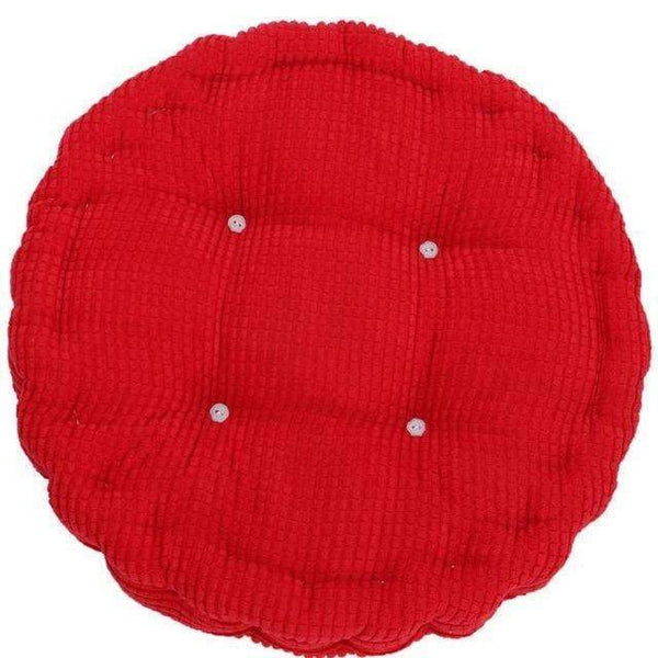 PinKart-USA Online Shopping Red 1Pc 36*38Cm Round Shape Plaid Chair Pad Cushion Thicker Soft Washable Cotton Colorful Home Decor