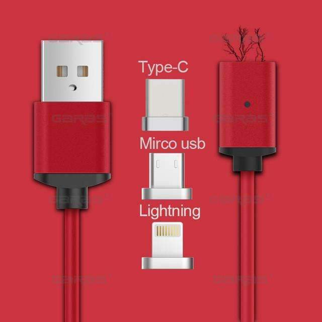 PinKart-USA Online Shopping red 3in1 / 1m with retail box Usb Type C/Ios/Android 3In1 Magnetic Cable Type-C Usb-C Fast Charge Adapter Magnet Cable For
