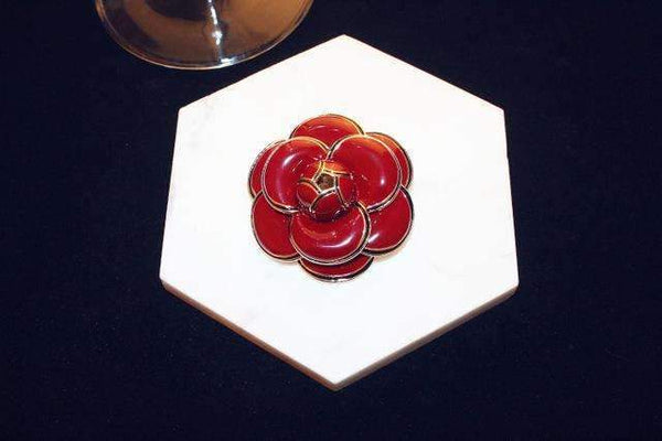 PinKart-USA Online Shopping red Agood Brand High Quality Rose Camellia Brooches Gold Metal Flowers Enamel Brooch Pins Woma