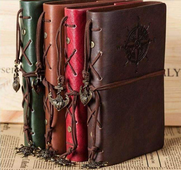 PinKart-USA Online Shopping Red / B6 150x100mm Mc 2014 Spiral Notebook Est Diary Book Vintage Pirate Anchors Pu Leather Note Book Replaceable