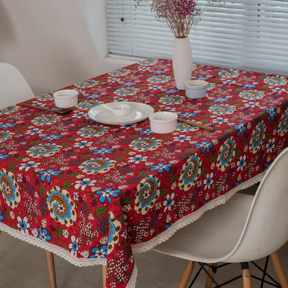 PINkart-USA Online Shopping Red Floral Table Cloth Rectangle Printed Table Covers Dustproof Thick Tablecloths For Wedding Home