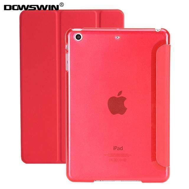 PinKart-USA Online Shopping Red For Ipad 9.7 Case Release Smart Wake Up Sleep Pu Leather With Matte Transparent Pc Back
