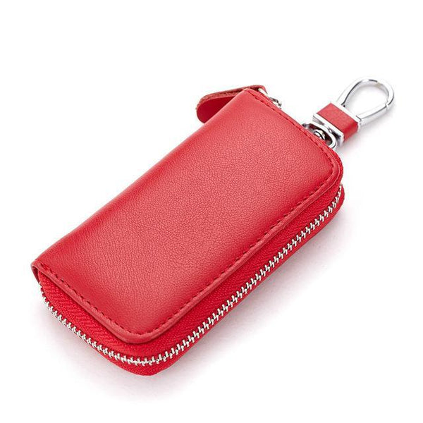 PINkart-USA Online Shopping Red Genuine Cow Leather Men & Women Car Key Bag Wallet Multi Function Key Case Fashion Housekeeper