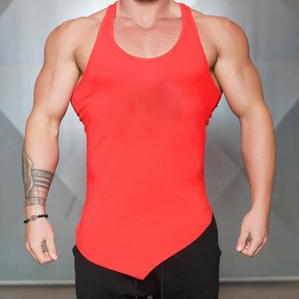 PINkart-USA Online Shopping Red / L Brand Blank Clothing Solid Vest Men Bodybuilding And Fitness Men Undershirt Gyms Stringer Tank Top