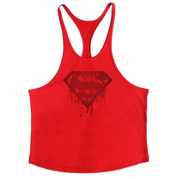 PINkart-USA Online Shopping Red / L Fitness Bloody Superman Cotton Mens Tank Tops Bodybuilding Stringer 1Cm Shoulder Strap Gyms Vest