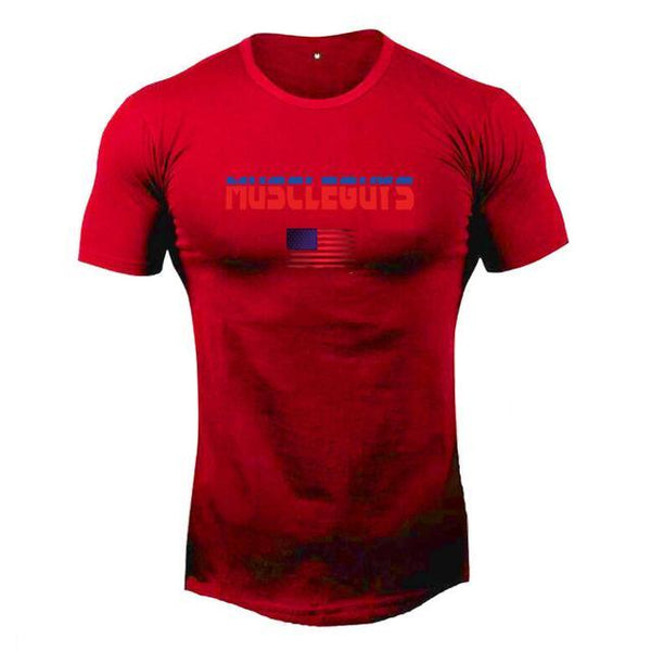 PINkart-USA Online Shopping Red / L Muscle Guys Brand T Shirt Mens Cotton Fitness Crossfit T Shirt American Gyms T-Shirt Bodybuilding