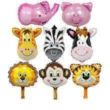 PinKart-USA Online Shopping Red / Mnini Size 50Pcs Safari Animal Balloons Birthday Party Decoration Lion & Monkey & Zebra & Cow Head Safari Zoo