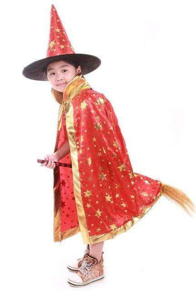 PinKart-USA Online Shopping Red / One Size / Wizard Cloak Boy Girl Kids Children Halloween Costumes Witch Wizard Cloak Gown Robe With Hat Cap Stars Fancy