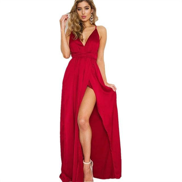 PINkart-USA Online Shopping Red / S Elegant Backless Satin Long Dress Women Evening Summer Dress Party Best Quality Black Red Maxi