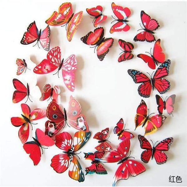 PinKart-USA Online Shopping Red strip 12 Pcs/Lot Pvc Butterfly Decals 3D Wall Stickers Home Decor Poster For Kids Rooms Adhesive To Wall
