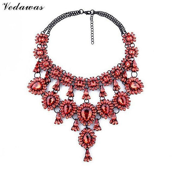 PinKart-USA Online Shopping Red Tassel Style Crystal Rhinestone Beads Luxury Collar Choker Necklace&Pendant Fashion