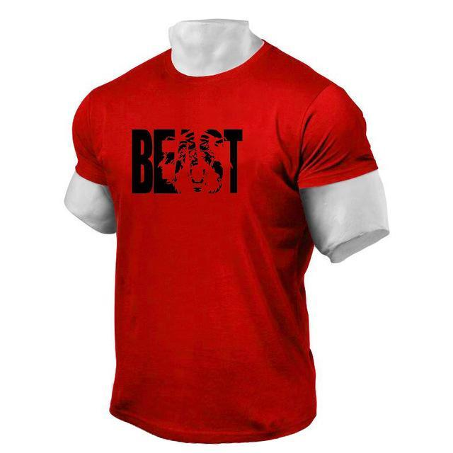 PINkart-USA Online Shopping Red / XL Brand Clothing Fitness Beast Printed T Shirt Men Cotton O-Neck T-Shirt Muscle Bodybuilding Tee