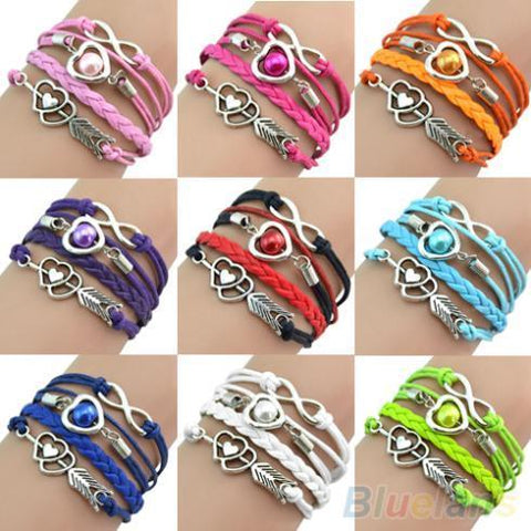 PINkart-USA Online Shopping Retro Cupid'S Arrow Love Beads Cuff Bracelet Leather Bangle Lovers Gift 1O3P