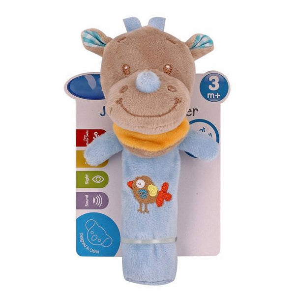 PINkart-USA Online Shopping rhinoceros 0-12 Months Born Bb Sticks Plush Baby Toys Soft Dog Cattle Doll Baby Rattle Colorful Infant