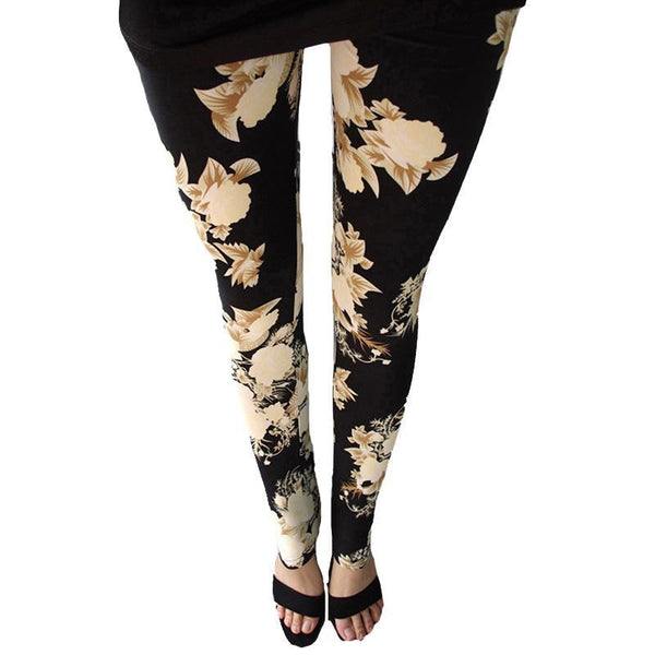 PINkart-USA Online Shopping Rose Flower Printed Leggings Fashion Best Quality Women Lady Slim High Elastic Cotton Pants