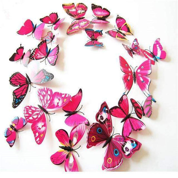 PinKart-USA Online Shopping Rose Red 12 Pcs/Lot Pvc Butterfly Decals 3D Wall Stickers Home Decor Poster For Kids Rooms Adhesive To Wall