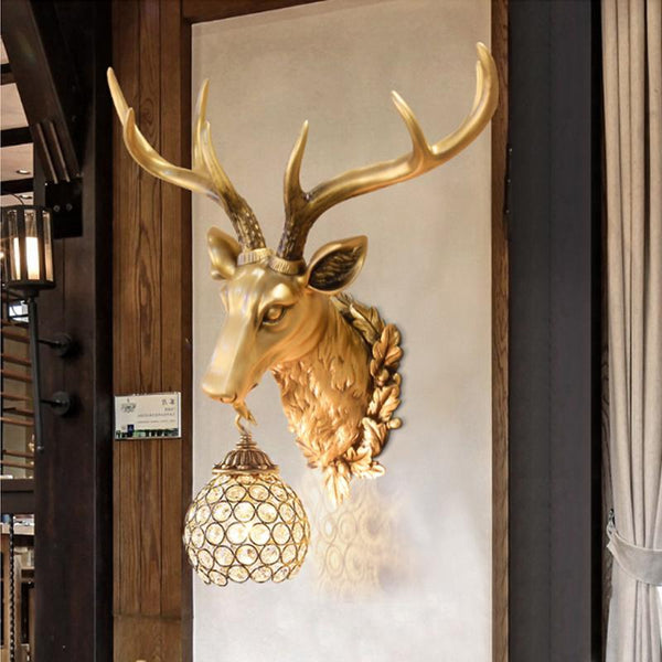 PINkart-USA Online Shopping Rustic Wall Sconce Creative Deer Head Led Wall Lamp Ktv Corridor Restaurant Decoration Light And