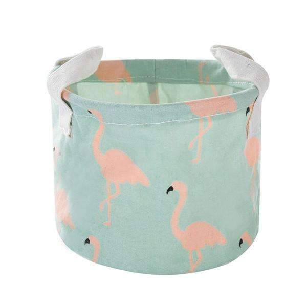 PinKart-USA Online Shopping S / Green Pink Flamingo Cute Printing Cotton Linen Desktop Round Storage Organizer Sundries Box Cabinet Underwear Jewelry