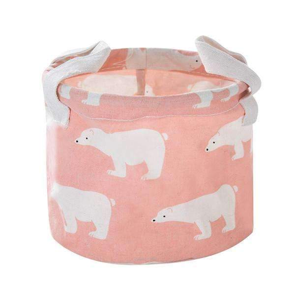 Cute Printing Cotton Linen Desktop Round Storage Organizer Sundries Box Cabinet Underwear Jewelry