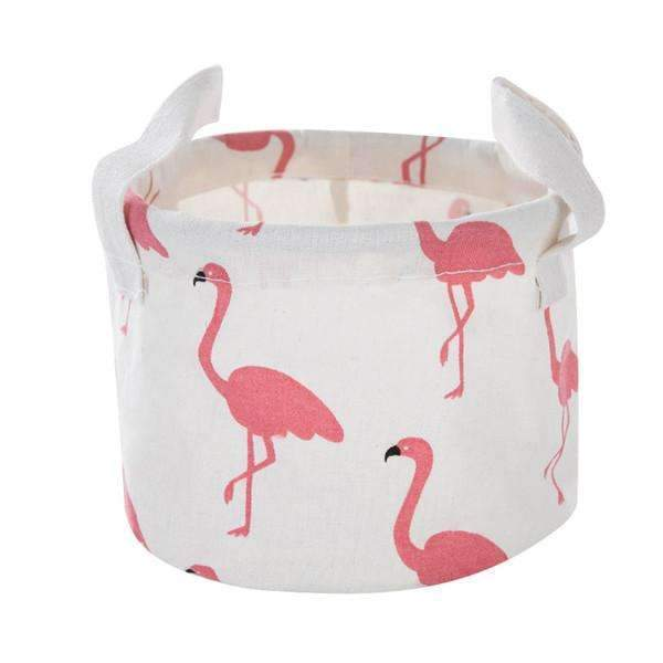 PinKart-USA Online Shopping S / White Pink Flamingo Cute Printing Cotton Linen Desktop Round Storage Organizer Sundries Box Cabinet Underwear Jewelry