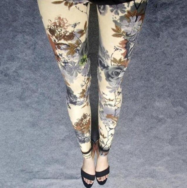PINkart-USA Online Shopping S059 3 khaki flowers / One Size Rose Flower Printed Leggings Fashion Best Quality Women Lady Slim High Elastic Cotton Pants