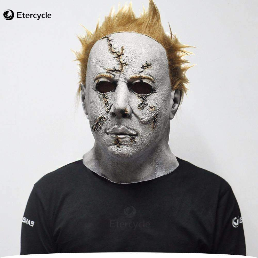 PinKart-USA Online Shopping Scar Scary Michaelmyers Mask Horror Movie Halloween Cosplay Adult Latex Party Mask