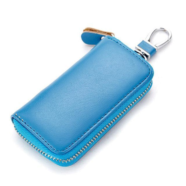 PINkart-USA Online Shopping Sea Blue Genuine Cow Leather Men & Women Car Key Bag Wallet Multi Function Key Case Fashion Housekeeper