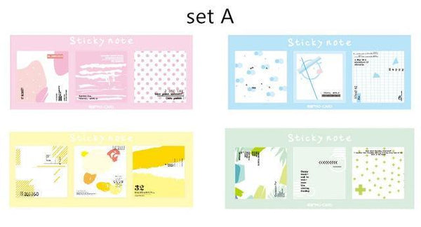 PINkart-USA Online Shopping set A 4 Pcs Spring Autumn Color Collage Sticky Note Forest Memo Pad Bookmark Index Sticker Stationery