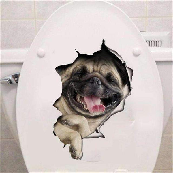 Hole View Vivid Cats Dog 3D Wall Sticker Bathroom Toilet Living Room Kitchen Decoration Animal Viny Online Shopping PINkart.in